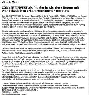 01.02.2011 Institutional Money CONVERTINVEST als Pionier in Absolute Return mit Wandelanleihen erhlt Morningstar Bestnote